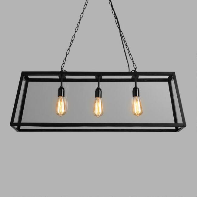Rectangular Metal and Glass 3 Light Chandelier