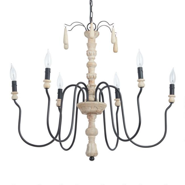 Gray Wood Beaded 6 Light Corinne Chandelier