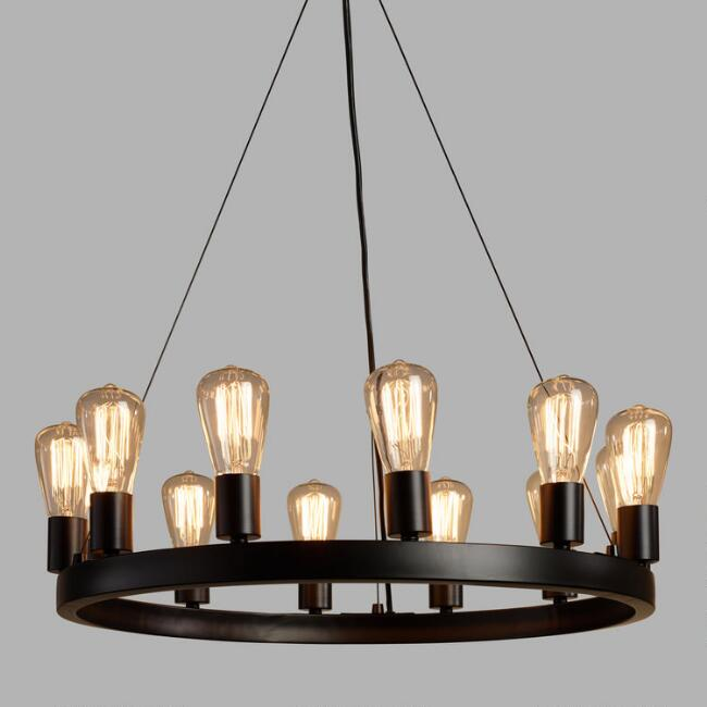 Round 12 Light Edison Bulb Chandelier