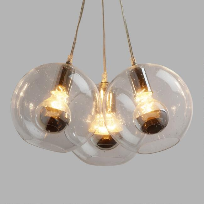 Seeded Gl Chrome Tip 3 Bulb Cer Pendant Lamp World Market