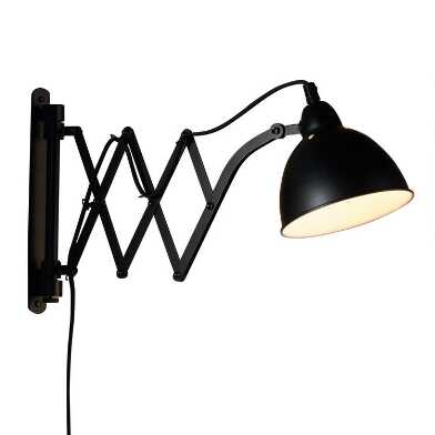 Black Metal Accordion Adjustable Wall Sconce