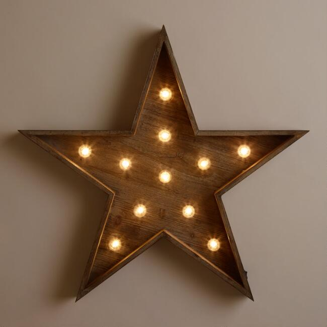 Wood Star LED Marquee Sign