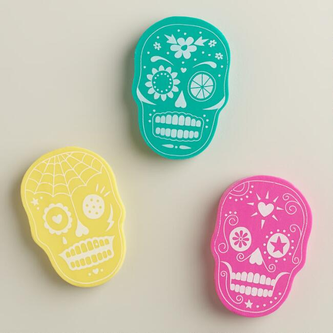Large Sugar Skull Erasers, 3-Pack