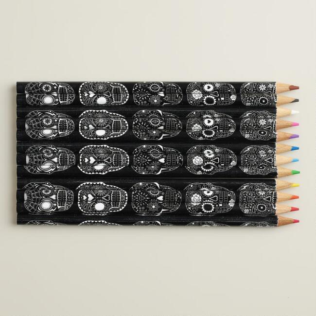 Sugar Skull Colored  Pencils, Set of 12