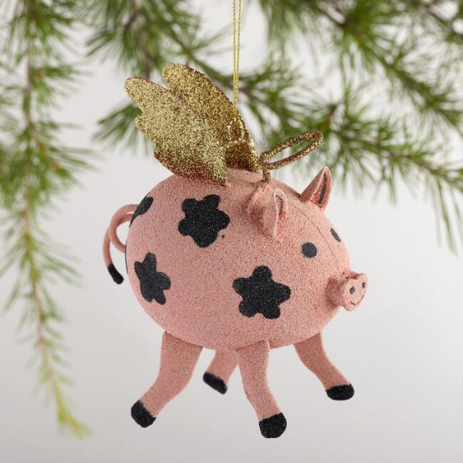 Metal  Flying Pig Ornaments, Set of 3