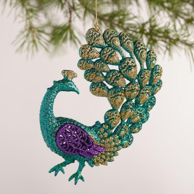 Glitter  Peacock Ornaments, Set of 4
