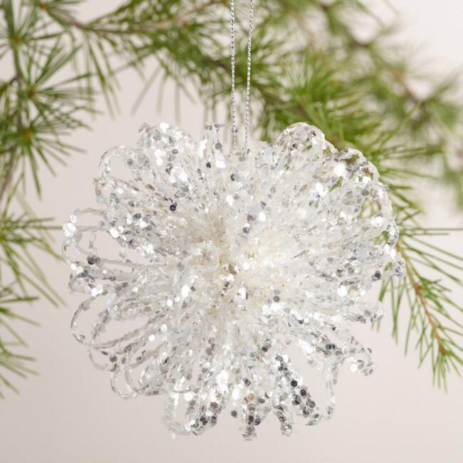 Glitter Flower  Ball Ornament, Set of 4