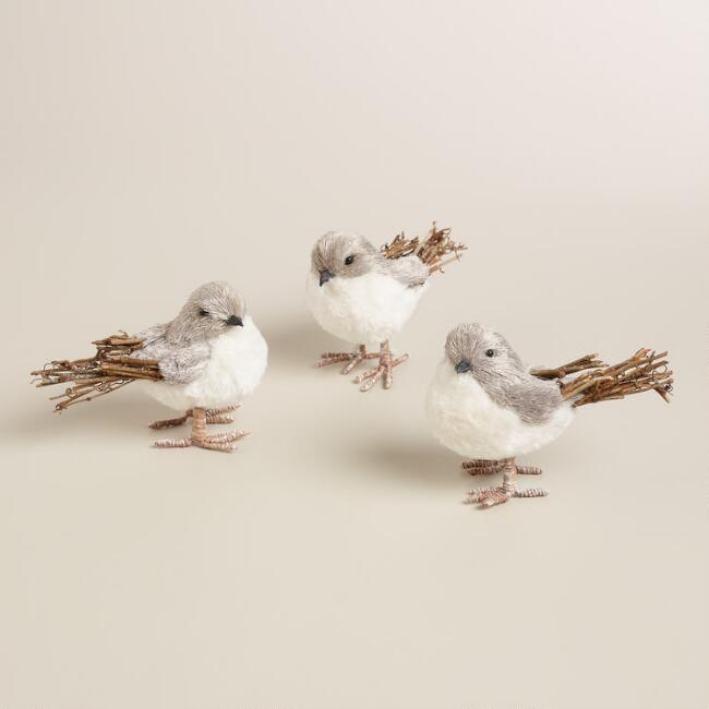 Natural Fiber and Twig Fuzzy Birds,   Set of 3