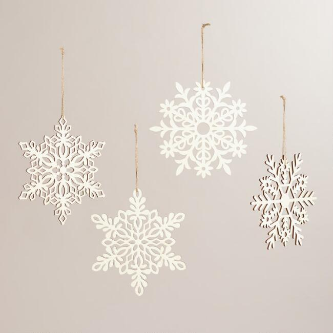 Laser-Cut Wood Hanging Snowflakes, Set of 4