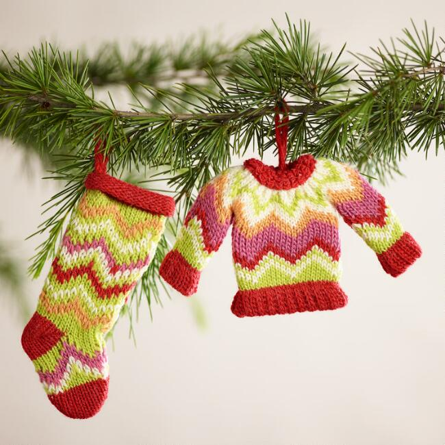 Knit Sweater and Stocking Ornaments, Set of 6