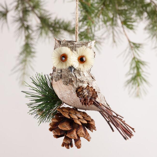 Natural Fiber and Birch Owl Ornaments,  Set of 2