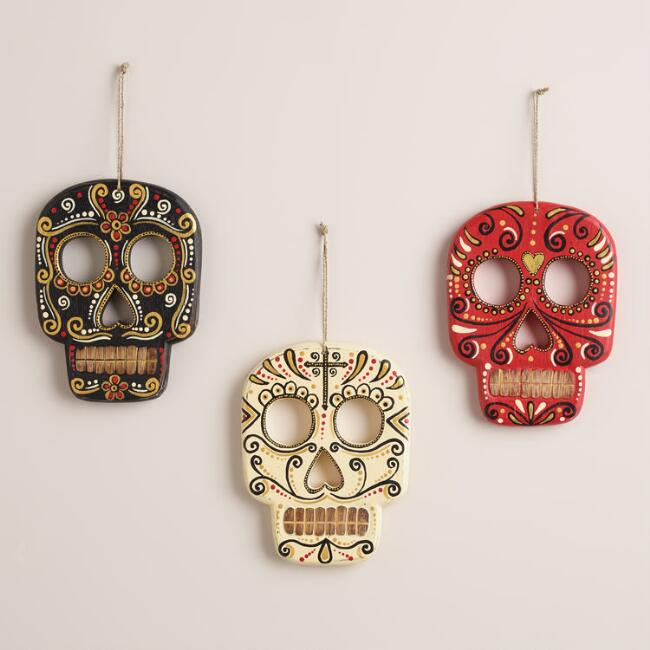 Ivory, Red and Black Wood Skull Wall Decor, Set of 3