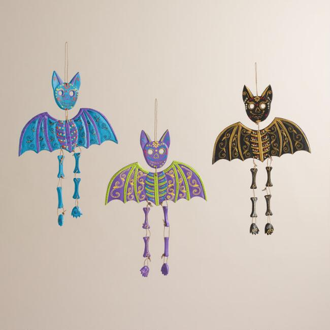 Bright Wood Bat Wall Decor, Set of 3