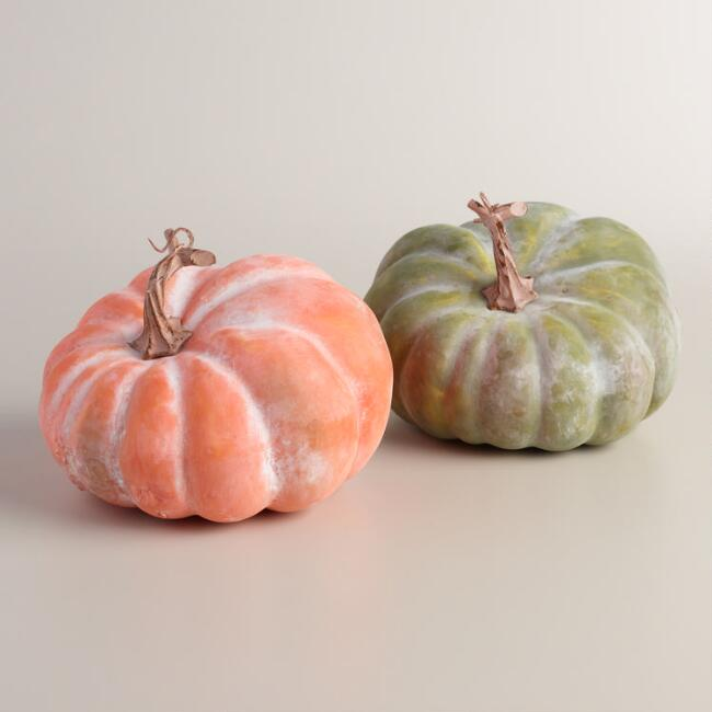 Small Whitewashed Pumpkins, Set of 2