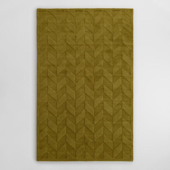 Sprout Chevron Carved Wool Bennet Area Rug