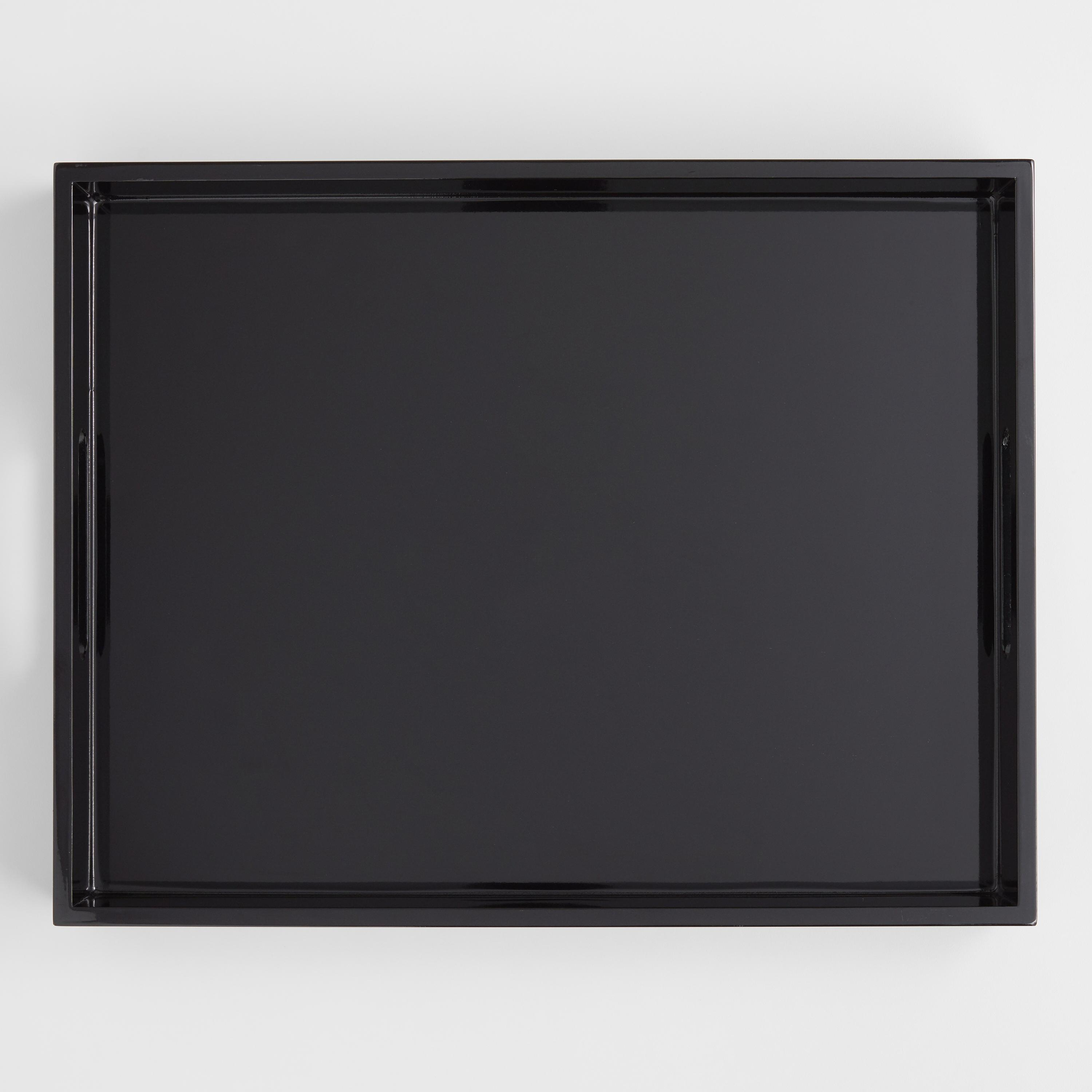 Black Rectangular Lacquer Serving Tray By World Market