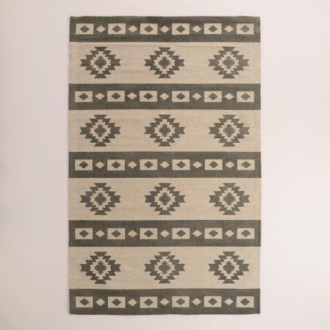 5 X8 Gray Wool Kilim Mudrita Floor Runner