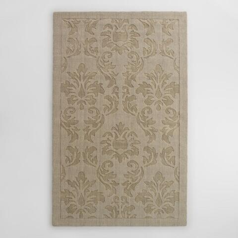 Gray Fl Carved Wool Adele Area Rug Previous V3 V1