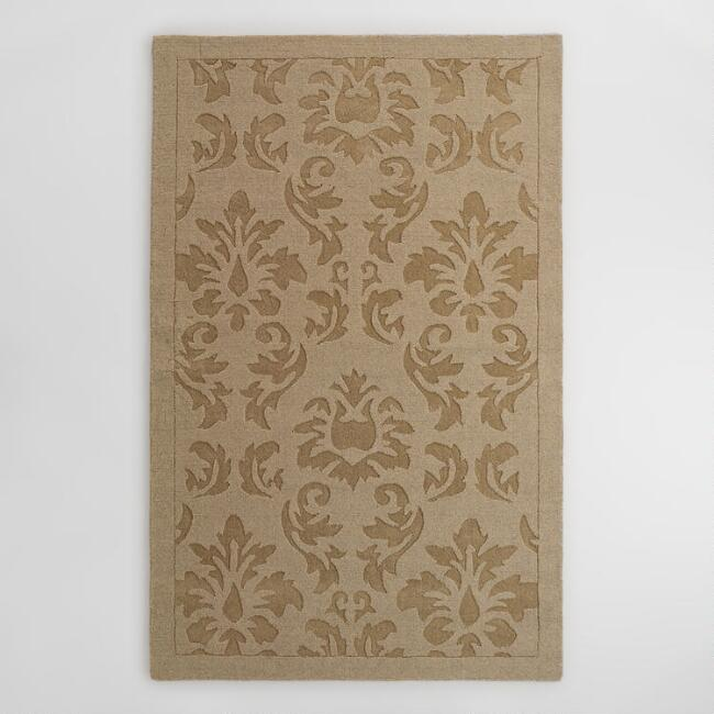 Oatmeal Floral Carved Wool Adele Area Rug