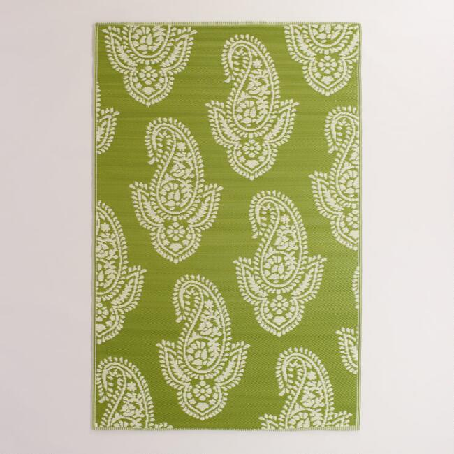 Green Paisley Urban Floor Mat