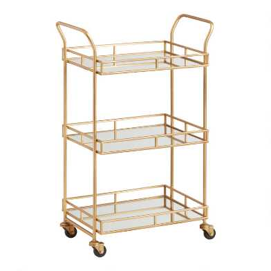 Antique Brass 3 Tier Cole Bar Cart