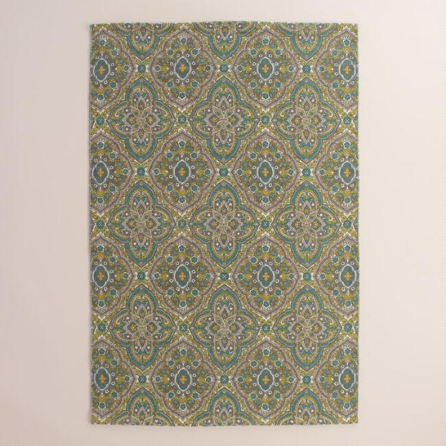 Green Medallion Print Reversible Merick Area Rug