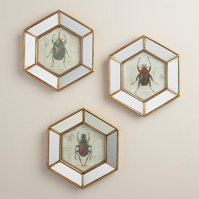 Hexagonal Mirrored Beetle Wall Art, Set of 3