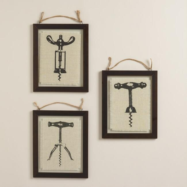 Corkscrew Linen Wall Art by Brittany McCurdy, Set of 3