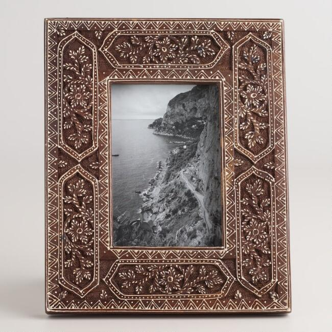 Espresso and White Carved Annika Frame
