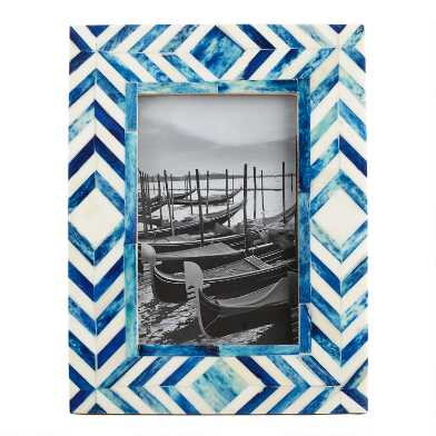 Blue and Natural Bone Chevron London Frame