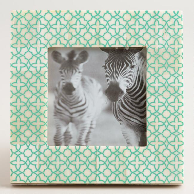 Mint Geometric Wood and Bone Frame