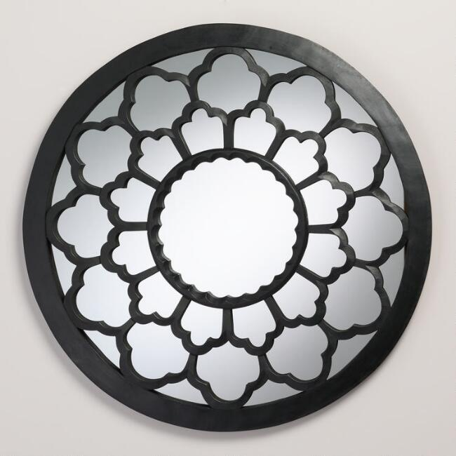 Black Round Caleb Mirror