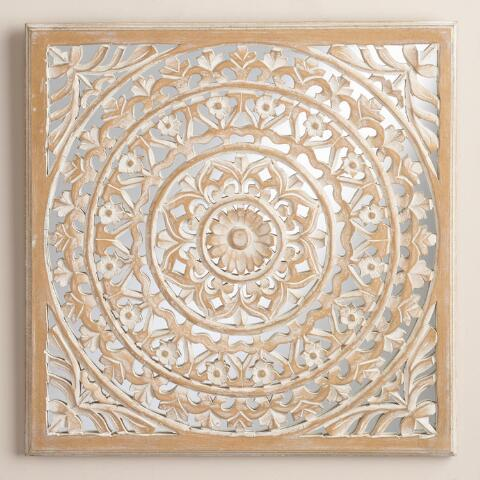 carved mirrored leela wall plaque world market