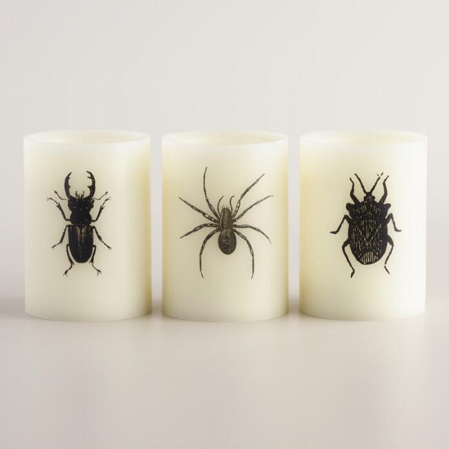 Bug Flameless LED Pillar Candles, Set of 3