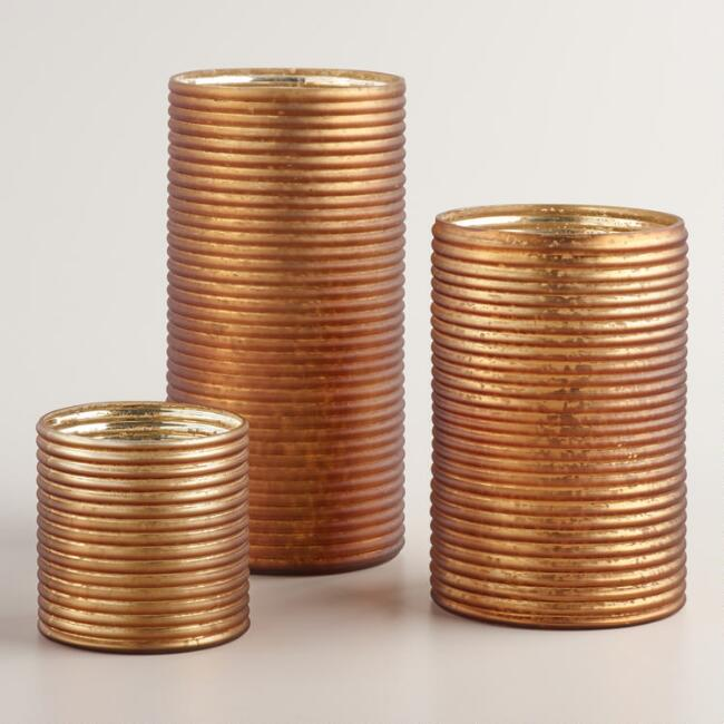 Bronze Ribbed Mercury Glass Hurricane