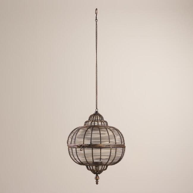 Antique Brass Wire Hanging Lantern