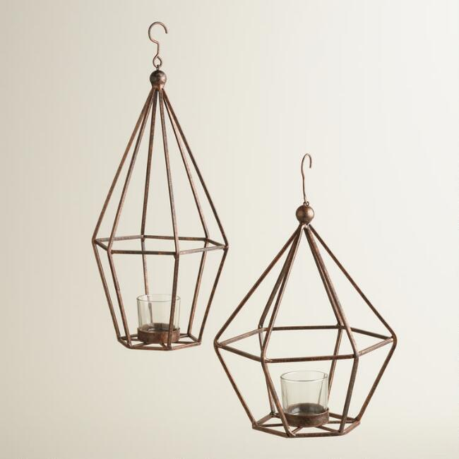 Bronze Metal Facet Lantern