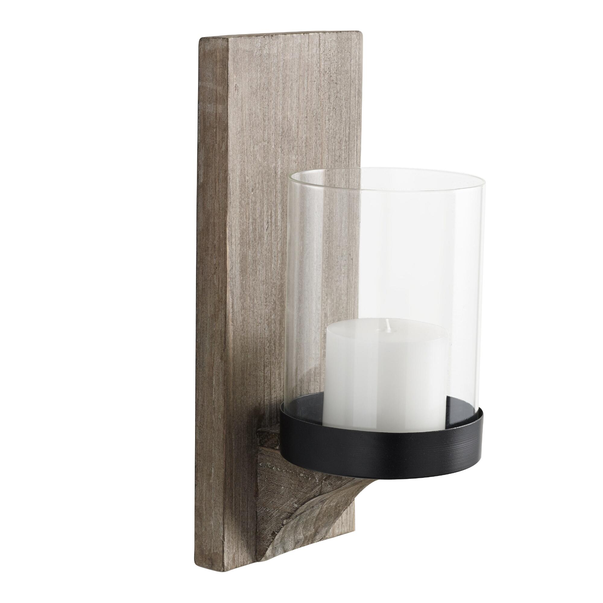 candle holders pillars trays  sconce  world market - rustic wood mason sconce