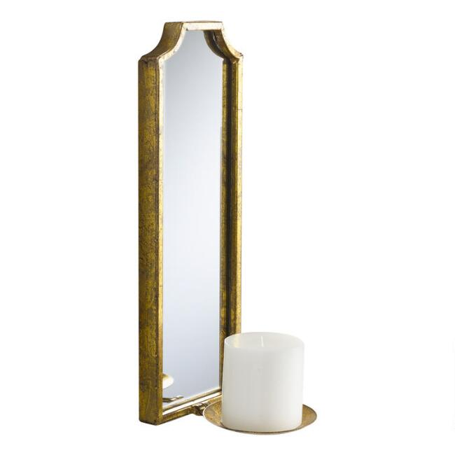 Rectangular Antique Gold Mirrored Emma Wall Sconce
