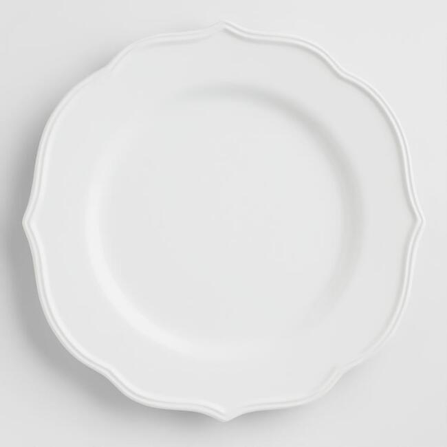 White Baroque Dinner Plates, Set of 4