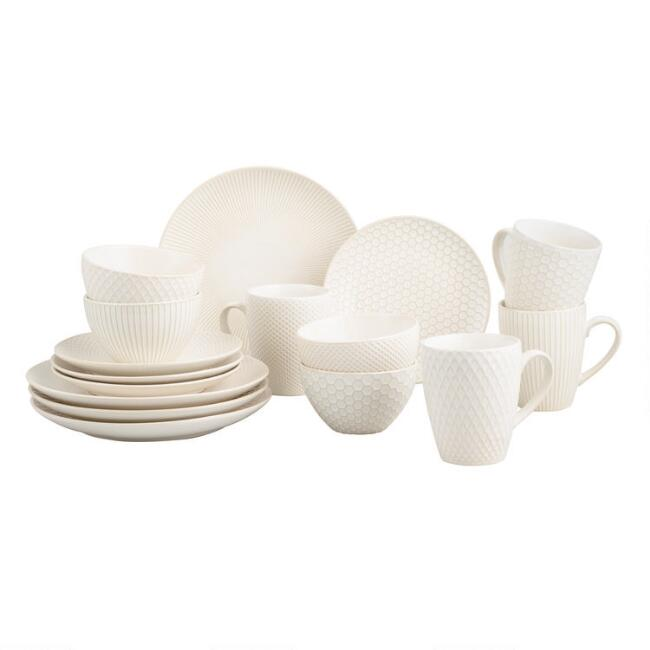 White Textured Stoneware Dinnerware Collection
