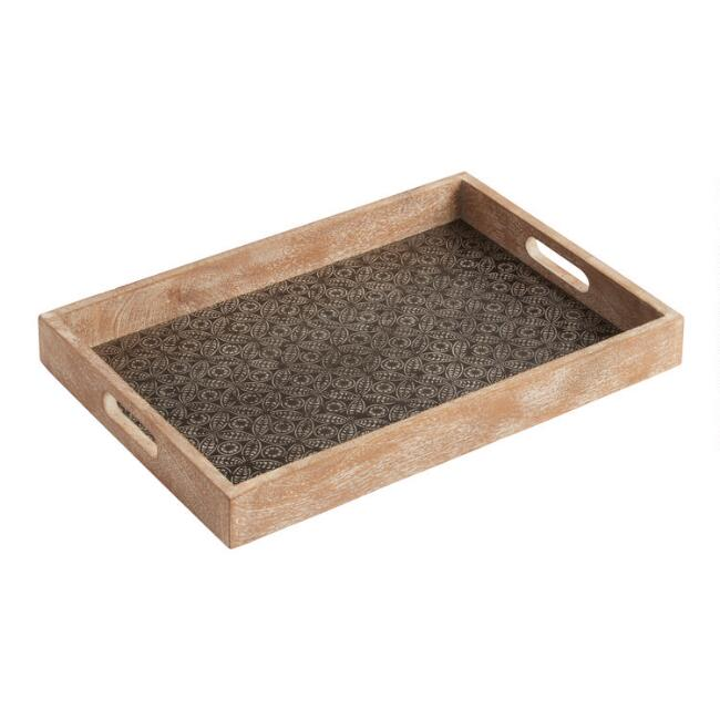 Embossed Wood And Metal Serving Tray