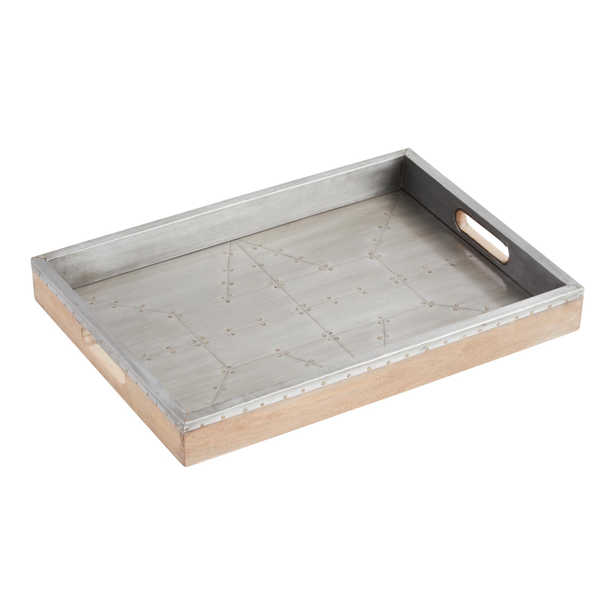 Industrial Wood and Metal Tray: Gray/Metallic by World Market