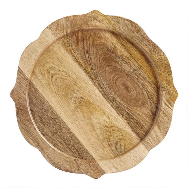 Wood Baroque Chargers Set Of 4