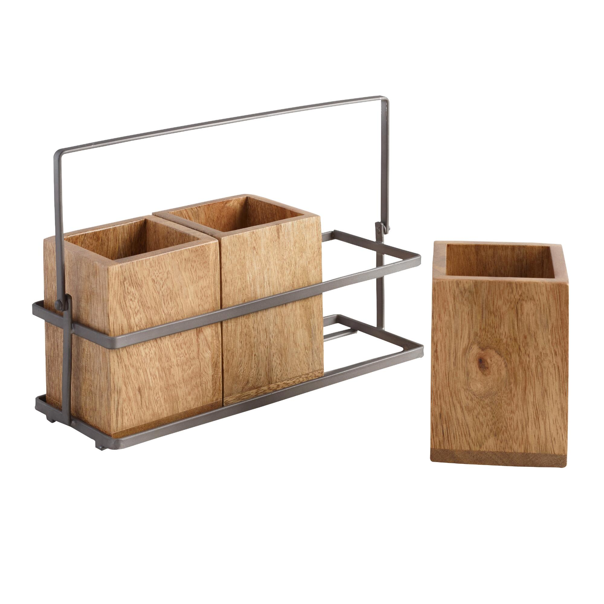 Wood and Metal Flatware Caddy: Metallic/Natural by World Market
