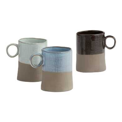 Dipped Organic-Style Mugs, Set of 3