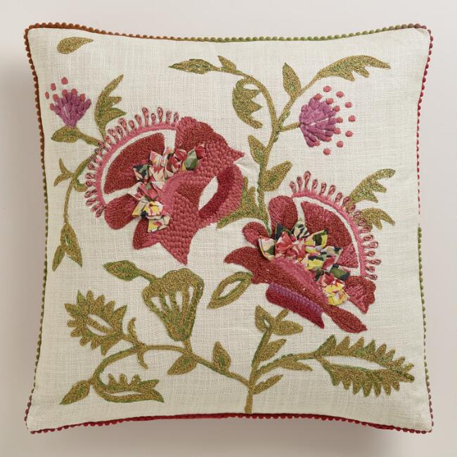 Red Floral Boho Chambray Throw Pillow