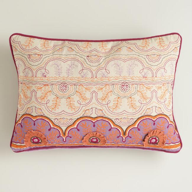 Pink and Orange Embroidered Chambray Lumbar Pillow