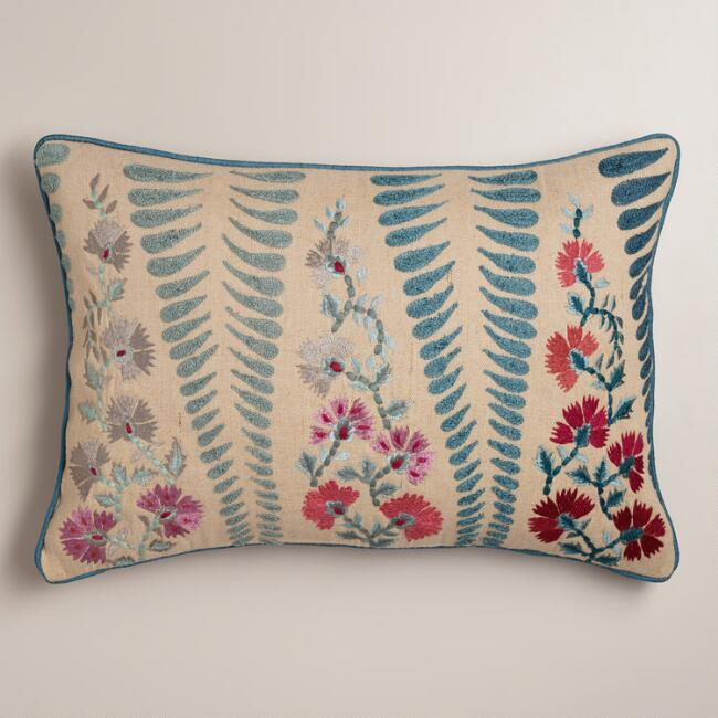 red pie mud printed striped coral blue woven lumbar pillow canvas