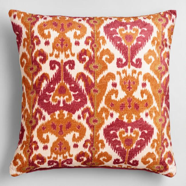 Orange and Pink Taza Throw Pillow